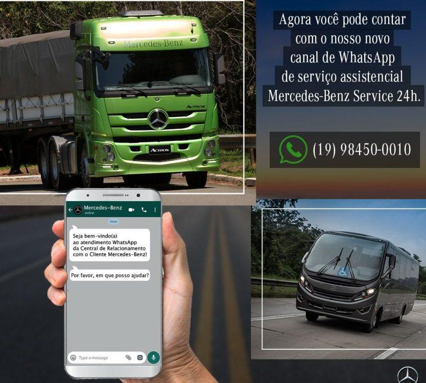 Mercedes-Benz atende por WhatsApp motoristas de caminhões e ônibus