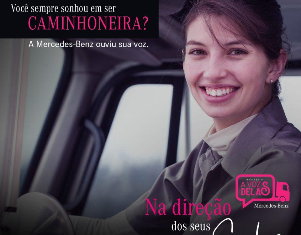 Mercedes-Benz paga a habilitação para mulher dirigir caminhão