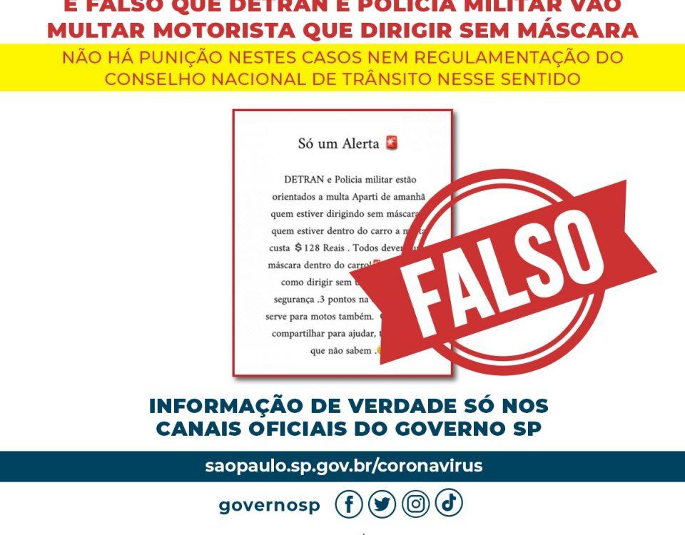 Motorista de veículo particular sem máscara não será multado